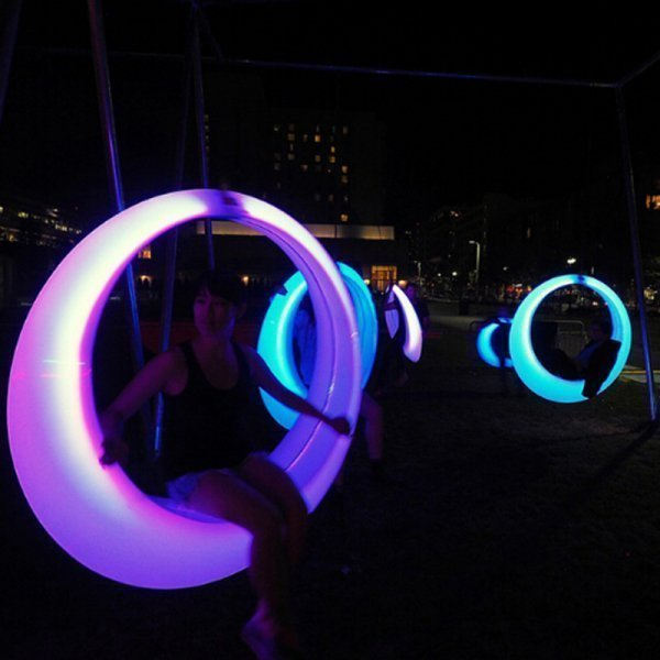 Hot style of plastic round led swing chair for adult and children