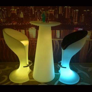 LED Cocktail Table and LED Stool Set