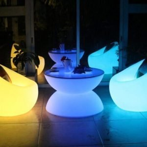 LED glow table and chair